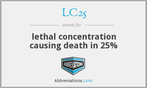 LC25 - lethal concentration causing death in 25%