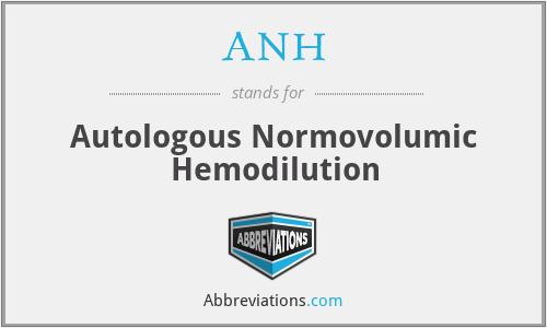 ANH - autologous normovolumic hemodilution