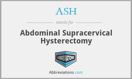 ASH - Abdominal Supracervical Hysterectomy