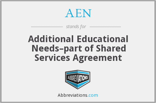 AEN - Additional Educational Needs–part of Shared Services Agreement