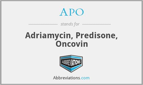 APO - adriamycin, predisone, oncovin