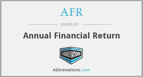 AFR - Annual Financial Return