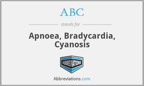 ABC - apnoea, bradycardia, cyanosis
