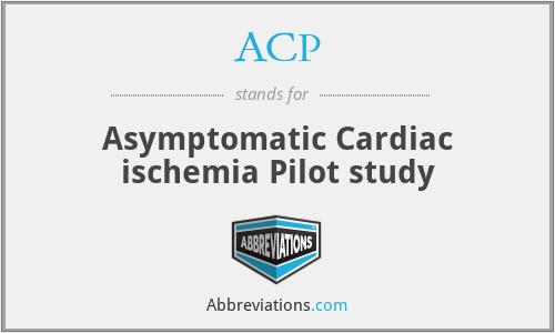 ACP - Asymptomatic Cardiac ischemia Pilot study