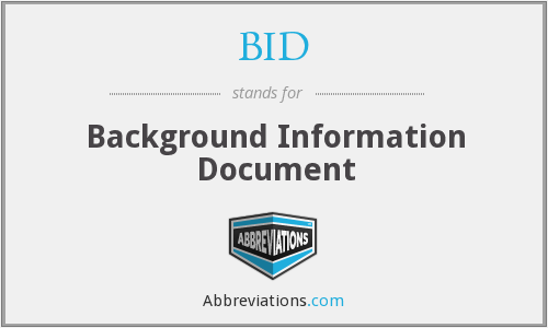 BID - Background Information Document