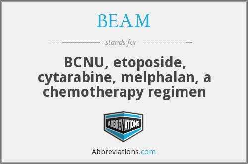 BEAM - BCNU, etoposide, cytarabine, melphalan, a chemotherapy regimen