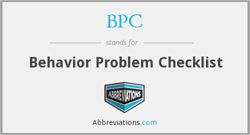 BPC - Behavior Problem Checklist