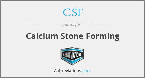 CSF - Calcium Stone Forming