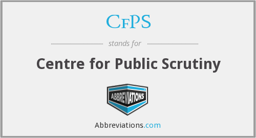 CfPS - Centre for Public Scrutiny