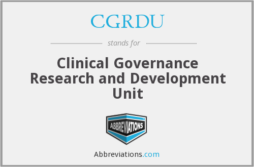 What does CGRDU stand for?
