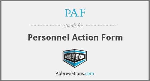 PAF - Personnel Action Form