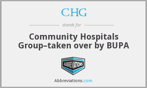 CHG - Community Hospitals Group–taken over by BUPA