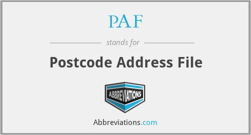 PAF - Postcode Address File