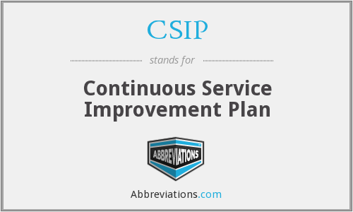 CSIP - Continuous Service Improvement Plan