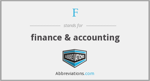 F - finance & accounting