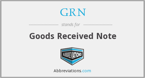 GRN - Goods Received Note