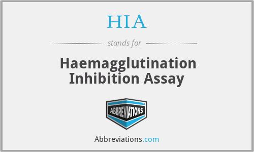 HIA - Haemagglutination Inhibition Assay