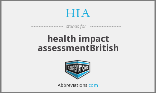 HIA - health impact assessmentBritish