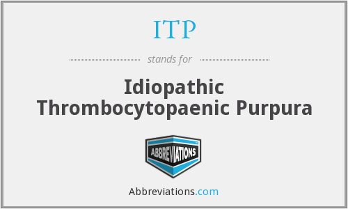 ITP - idiopathic thrombocytopaenic purpura