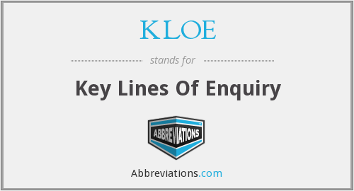 KLOE - key lines of enquiry