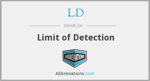 LD - limit of detection