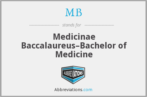 MB - Medicinae Baccalaureus–Bachelor of Medicine