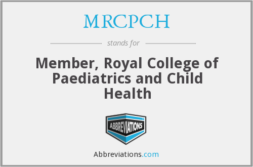 What does MRCPCH stand for?