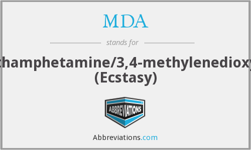 MDA - methylenedioxymethamphetamine/3,4-methylenedioxymethamphetamine (Ecstasy)