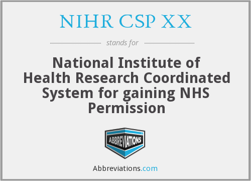 What does NIHR CSP XX stand for?