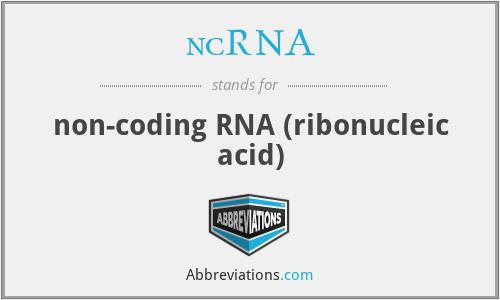 ncRNA - non-coding RNA (ribonucleic acid)