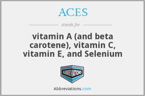 ACES - Nutrition An acronyn for the major dietary antioxidants–vitamin A (and beta carotene), vitamin C, vitamin E, and selenium