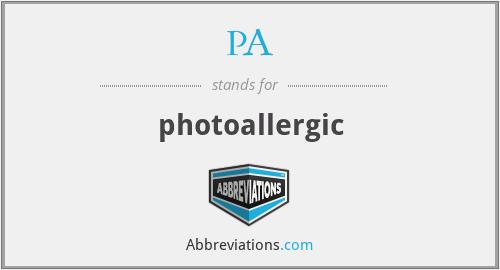 PA - photoallergic