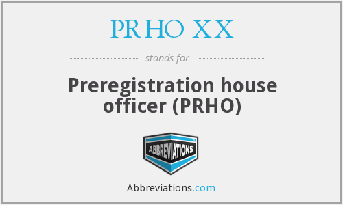 What does PRHO XX stand for?