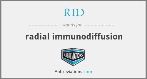 RID - radial immunodiffusion