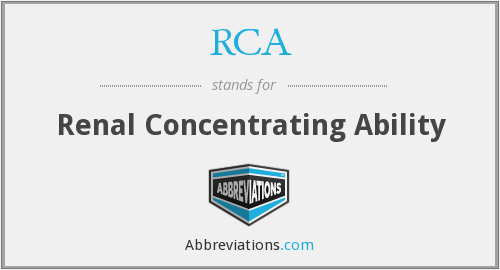 RCA - renal concentrating ability