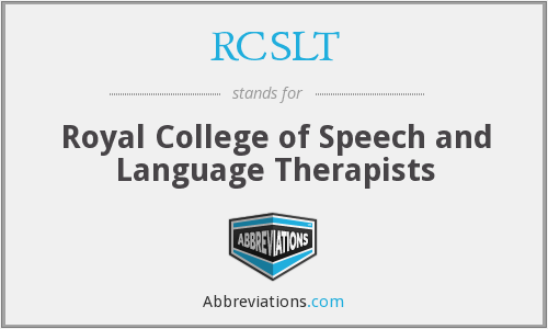 What does RCSLT stand for?