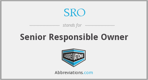 SRO - Senior Responsible Owner