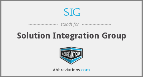 SIG - solution integration group