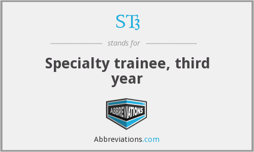 ST3 - Specialty trainee, third year