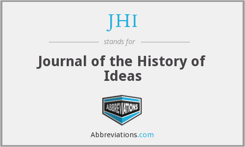 JHI - Journal of the History of Ideas