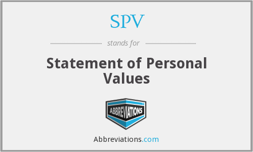 SPV - statement of personal values