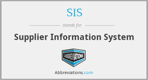 SIS - supplier information system