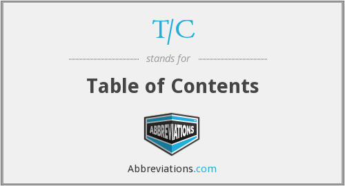 T/C - table of contents