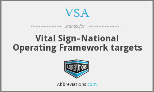 VSA - Vital Sign–National Operating Framework targets