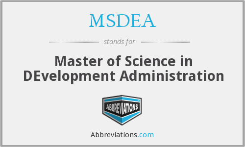 What does MSDEA stand for?