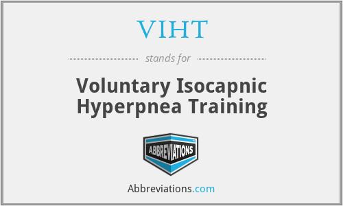 VIHT - voluntary isocapnic hyperpnea training