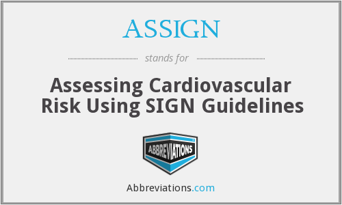 ASSIGN - Assessing Cardiovascular Risk Using SIGN Guidelines