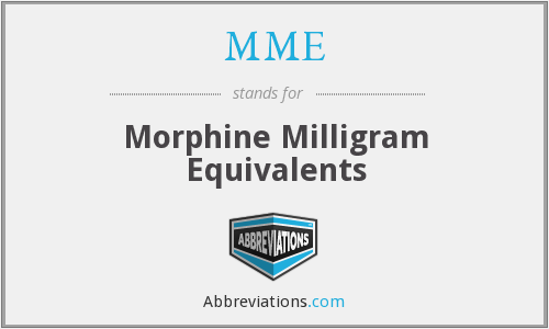 MME - morphine milligram equivalents
