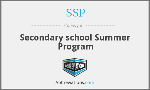 SSP - Secondary school Summer Program