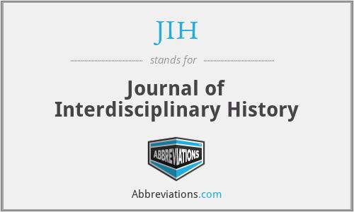 JIH - Journal of Interdisciplinary History